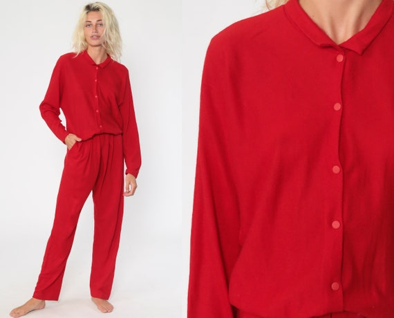 Red Wool Jumpsuit 80s Button Up Straight Leg Pants Grunge Pantsuit Vintage Long Sleeve Romper 1980s High Waist Medium