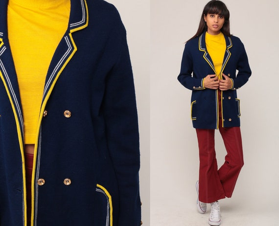 Wool Pea Coat 70s Mod Peacoat Jacket Double Breasted Sailor Jacket Navy Blue Yellow 1970s Jacket Boho Collared Hipster Medium