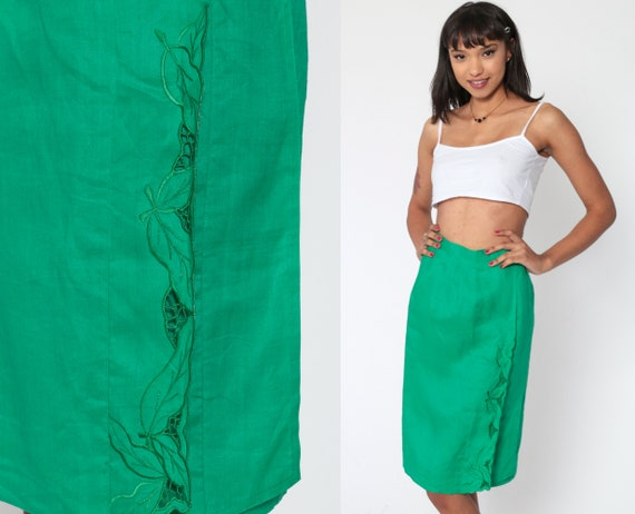 80s Pencil Skirt Embroidered MESH Leaf Print Kelly Green Cutout Wrap 1980s Vintage High Waist Wiggle Bali Knee Length Extra Small xs