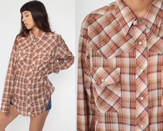 Metallic Plaid Shirt 70s Brown Western Shirt Button Up Vintage Long Sleeve Hippie Boho Men's Extra Large xl l