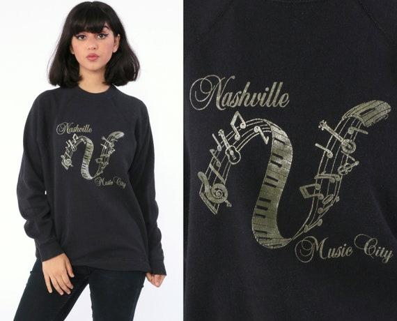 Nashville Sweatshirt 80s Sweatshirt MUSIC CITY Metallic Raglan Sleeve Grunge Shirt Graphic USA State Travel 90s Vintage Retro Medium Large