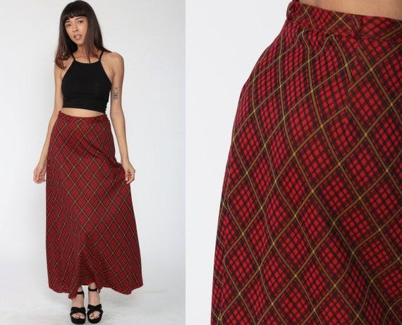 Plaid Maxi Skirt 70s Red Tartan Dress School Girl 1970s High Waisted Long Skirt Vintage Preppy Kilt Checkered Skirt Small