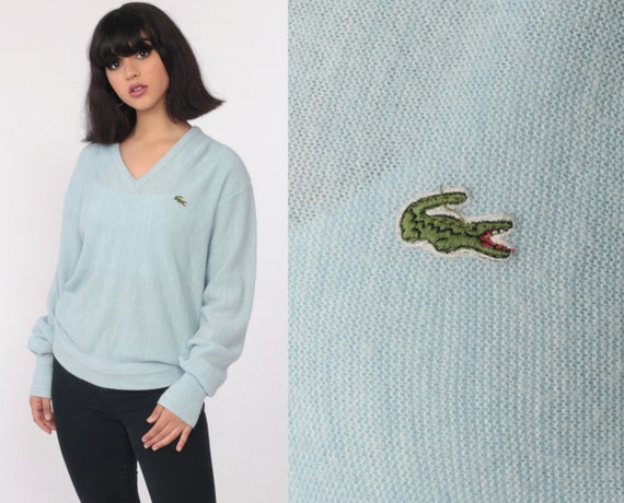 LACOSTE Sweater 80s Slouchy V Neck Baby Blue Pullover Jumper Knit Vintage 1980s Preppy Crocodile Oversized Retro Izod Lacoste Medium Large