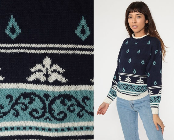 80s Geometric Sweater Cotton Ramie Sweater Navy Blue Print 90s Knit Jumper Funnel Neck Statement Sweater Vintage Pullover Small Medium