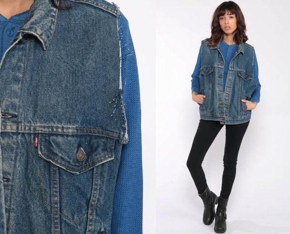 Levis Vest Denim Vest 80s Blue Sleeveless Jean Jacket LEVI Strauss Vest Punk Grunge Biker Vintage Hipster Button Up Large