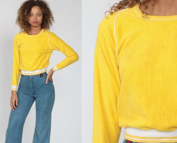 70s Terry Cloth Shirt Yellow Top Long Raglan Sleeve Shirt 80s Retro Plain Stranger Things Ringer Tee Vintage Extra Small xs