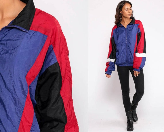 Purple Windbreaker Jacket 90s Shiny Striped Jacket Black Red Warmup Hipster Color Block Vintage 1990s Zip Up Warm Up Extra Large xl