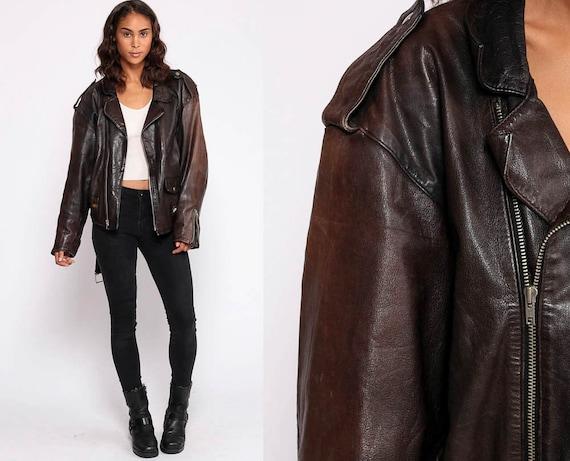 Brown Leather Jacket MOTORCYCLE Jacket Biker Coat Moto Punk Boho 1980s Vintage Punk Belted Epaulette Hipster Retro Medium Large