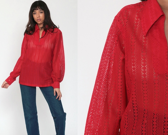 Sheer Lace Top 70s Boho Shirt Red Lace Blouse Tunic Top Sexy Romantic 1970s Hippie See Through Bohemian Chic Long Sleeve Medium Large