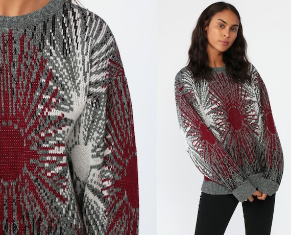 Starburst Sweater 90s Grey Grunge GEOMETRIC PRINT Jumper Abstract Knit Sweater Red Slouchy Grunge Pullover 1990s Vintage Retro Medium Large