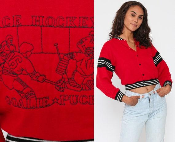 Hockey Jacket 80s ICE HOCKEY Snap Up Cropped Sweatshirt Red Black Retro Striped Track Jacket 1980s Vintage Sportswear Womens Extra Small XS