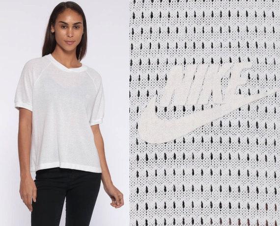 80s Nike Shirt -- Athletic Nike MESH Sheer White Running Top Retro Tee Raglan Sleeve Vintage 1980s Sports Nike Swoosh White Tee Large
