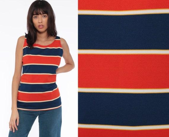 70s Tank Top Striped Shirt Tee Orange-Red Blue Mod Shirt Retro Top Sleeveless Bohemian 1970s Vintage Large
