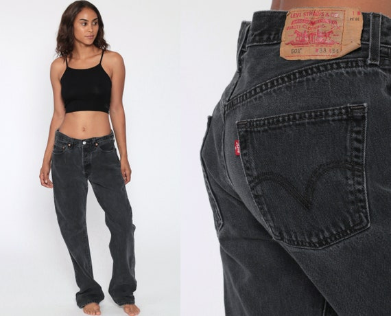 Black Levi's 501 Jeans 33 x 33 Straight Leg Jeans Grunge 80s Mom Jeans Denim Pants High Waist Levi 90s Boyfriend Fit Vintage Medium Large