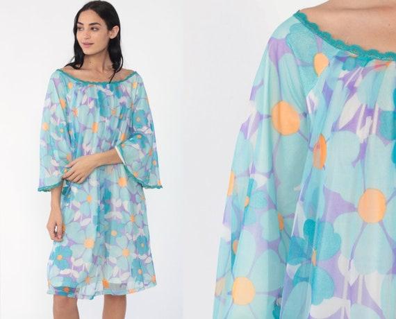 Flower Power Nightgown Lingerie 70s Slip Dress Mini Bell Sleeve Nightie Hippie Boho Lingerie Blue Vintage 1970s Tent Babydoll Large