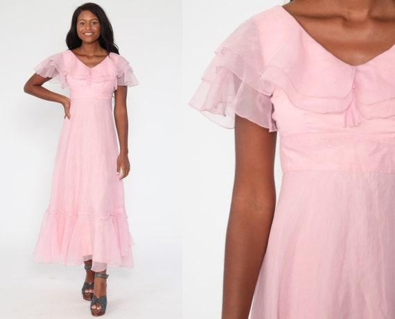 Pink Party Dress Halloween Princess Costume Dress 70s Long Chiffon Maxi Empire Waist FLUTTER Sleeve Hippie 1970s Vintage Extra Small xs
