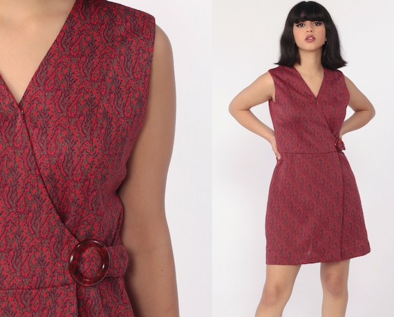 Mod Wrap Dress Boho Mini 70s PAISLEY Print 1970s High Waist V Neck Bohemian Vintage Cap Sleeve Red Vintage Gogo Twiggy Handmade Small 6