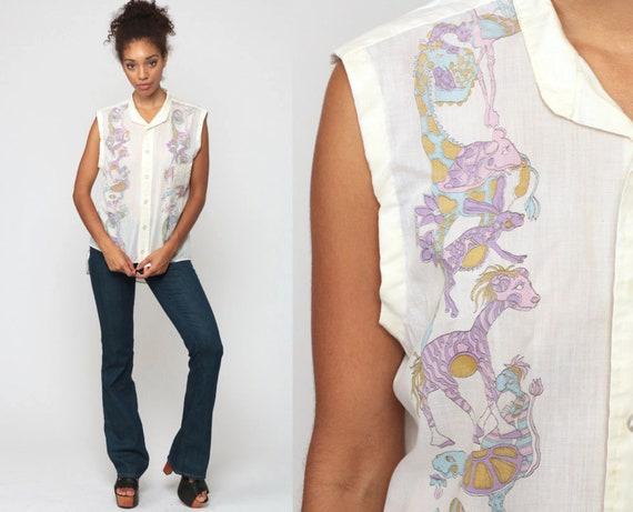 Psychedelic Blouse 70s ANIMAL Shirt Boho Tank Top GIRAFFE Bohemian Button Up 1970s Hippie Vintage Rabbit Cotton Sleeveless Extra Large xl