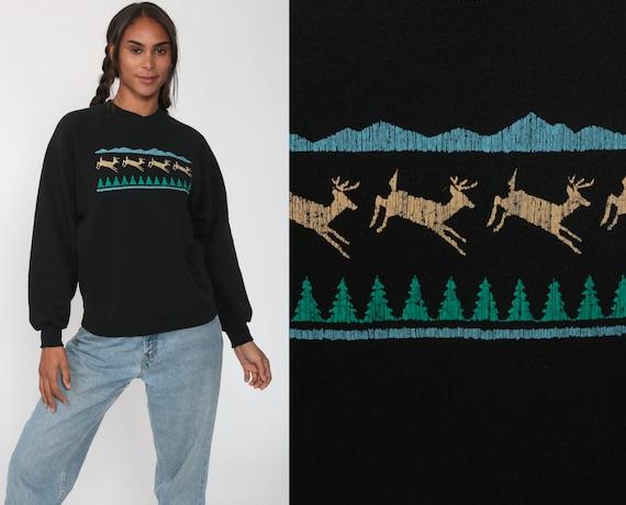 Mountain Sweatshirt Deer Shirt 80s Animal Graphic Raglan Sleeve 1980s Black Sweater Vintage Retro Sportswear Forest Small Medium