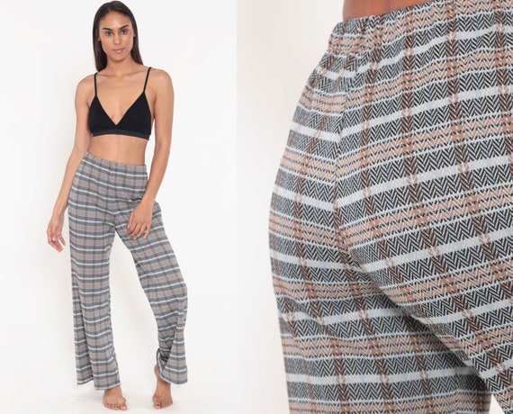 70s Plaid High Waisted Bell Bottoms Pants Chevron Print Vintage Trousers Brown Tartan Flared Checkered Wide Leg Extra small xs