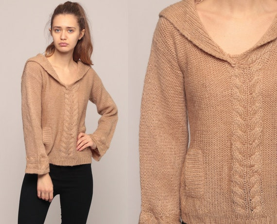 Boho Sweater 70s Cable Knit Sweater Semi-Sheer Sweater Sailor Collar Bohemian Tan Sweater Pullover Vintage Jumper Slouchy Medium