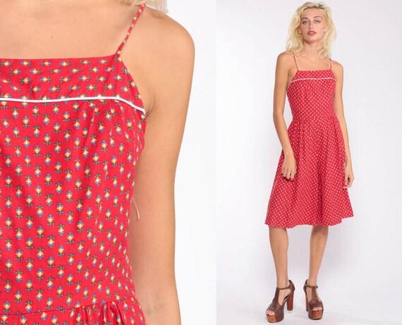 c163b548b8 ... 70s Romper CULOTTES Sun Dress Floral Jumpsuit Wide Leg Red Midi 1970s  Sundress Boho Vintage High