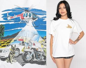 San Bernardino County Sheriff Shirt Vintage Police Shirt Graphic Tee Shirt Cop 90s Tshirt 80s Helicopter Shirt German Small Medium