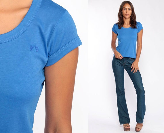 Hang Ten Shirt Blue TShirt 80s T Shirt Surfer Hipster Retro Tee Surf Girly Cap Sleeve Vintage 1980s Small Medium