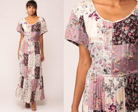 Bohemian Dress Purple Floral PATCHWORK Print 90s Grunge Maxi Boho Hippie Garden Party 1990s Vintage High Waist Romantic extra Large xl