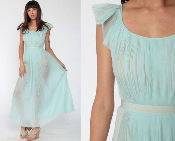 Sheer Blue Nightgown Pastel Lingerie 70s Pleated Slip Dress Maxi Grecian Disco Bohemian 1970s Vintage Boho Flutter Sleeve Small Medium