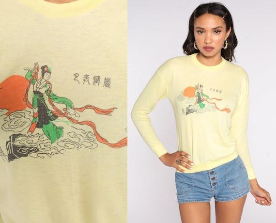 Geisha Sweatshirt Japanese Sweatshirt 80s Yellow Rabbit Shirt Vintage Long Sleeve Novelty Print Small xs s
