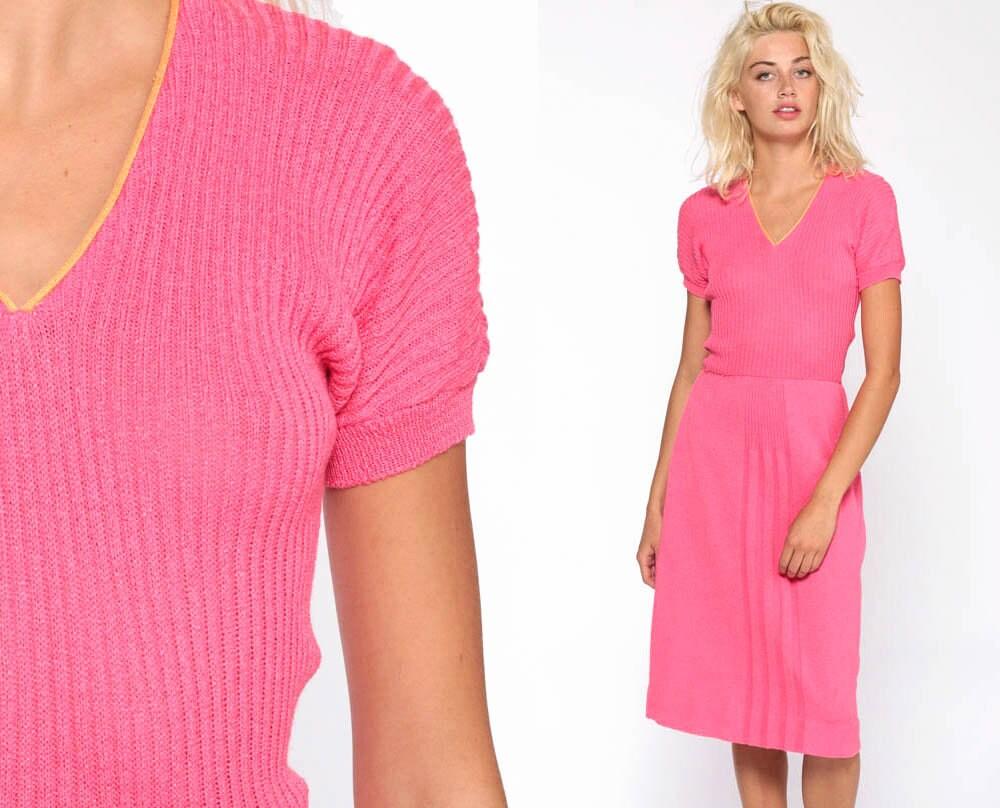 a8cdfe9e231 Hot Pink Sweater Dress 70s Knit Dress Midi V Neck High Waisted ...