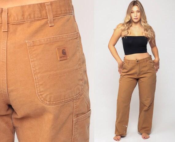 Carhartt Pants Workwear Boyfriend Work Pants 90s Baggy Cargo Light Brown Denim Pants Straight Leg Vintage Hipster Extra Large xl 16