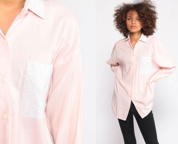 Baby Pink Blouse Cotton Shirt EYELET LACE Long Sleeve Top 80s Button Up Shirt Pastel Top Collared 1980s Hipster LArge