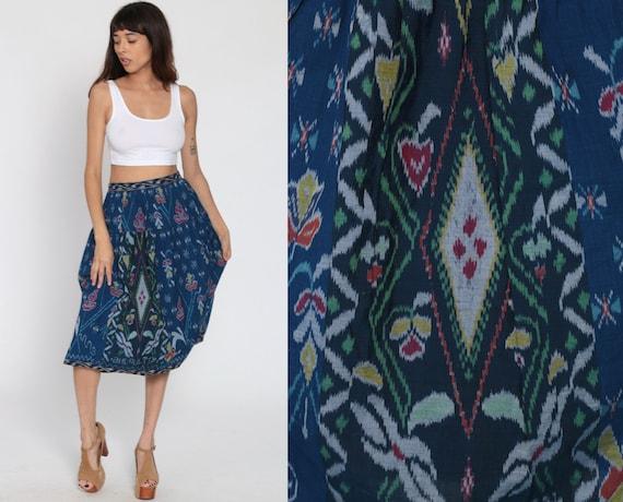 Indonesian Ikat Skirt Hippie Skirt Midi Skirt Floral Boho Cotton Bohemian Skirt High Waist Vintage Ethnic Skirt Blue Batik Skirt Small 28 W