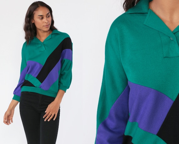 80s Color Block Sweatshirt Polo Quarter Half Button Up Polo 1980s Green Purple Color Block Black Sweater Slouchy Pullover Small