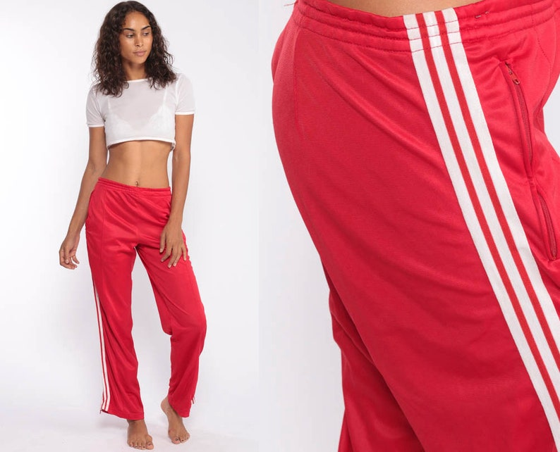 df734b0af9c 80s Adidas Track Pants -- Gym Jogging 1990s Running Red Striped Track Suit  Tennis Warm Up Athletic Sportswear Baggy Warmup Medium Large