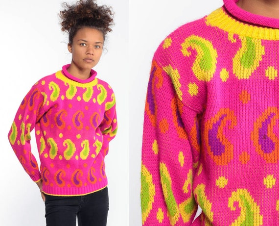 Neon Paisley Sweater 80s Hot Pink Sweater Yellow Sweatshirt Pullover Jumper Knit Green Vintage 1980s Mock Neck Acrylic Extra Small XS