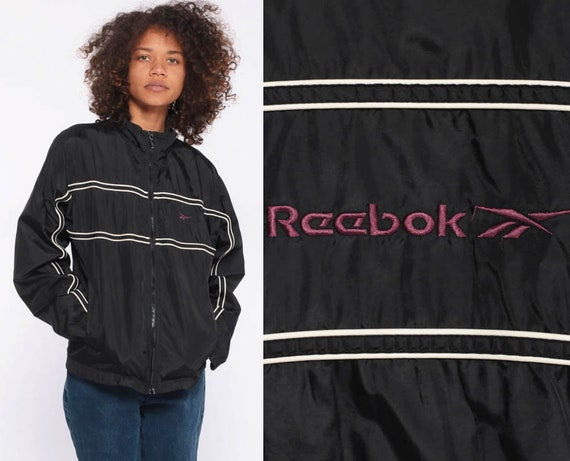 90s REEBOK Windbreaker Jacket -- 90s Streetwear Black Windbreaker Zip Up Warmup Jacket Purple 1990s Streetwear Sports Track Extra Small XS
