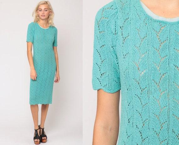 Knit Dress 70s Midi Sweater Dress Boho SHEER Dress Cutout Turquoise Blue Dress 1970s Textured Sheath Shift Bohemian Medium Large