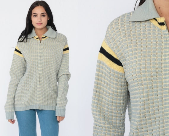 Grandpa Cardigan Sweater 70s Grey Zip Up Sweater WOOL BLEND Knit Retro Bohemian Textured Sweater Yellow Boho 80s Vintage Medium