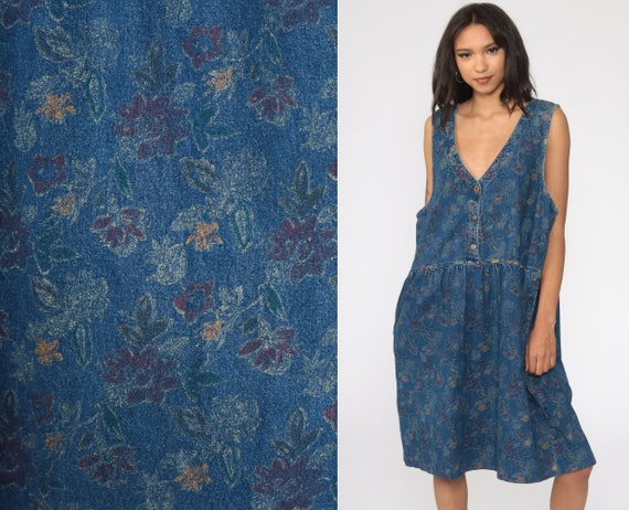 90s Jumper Dress FLORAL Denim Dress Overall Sleeveless Low Armhole Jean Pinafore 1990s Button Up Overall Dress Vintage Extra Large xl