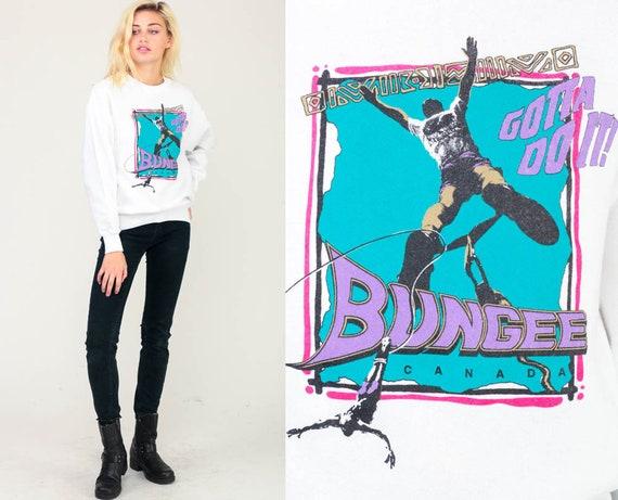 90s Sweatshirt BUNGEE Jump Shirt Canada Graphic Sweatshirt Extreme Sports Shirt Jumping Slouch Pullover 1990s Vintage Medium