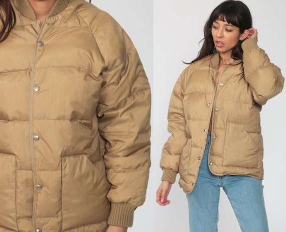 Tan Puffer Coat Goose DOWN Jacket 70s Winter Coat
