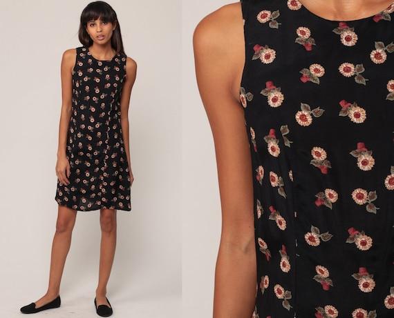1813b1d429 Floral Mini Dress 90s SUNFLOWER Dress Grunge Boho Black Floral