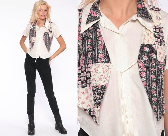 90s Grunge Blouse -- Attached Vest Shirt Button Up Shirt Floral Blouse Short Sleeve Top Boho 1990s Vintage Pink Off-White Extra Small xs xxs