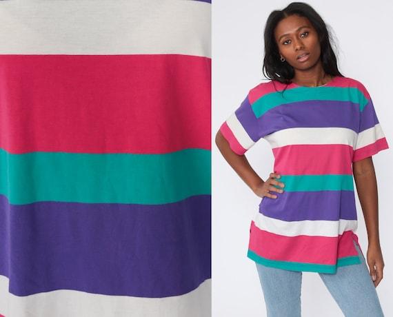 90s Striped Tee Shirt Pink Purple Shirt Short Sleeve Shirt Slouchy Tee 1990s Streetwear Vintage Normcore T Shirt Medium Large