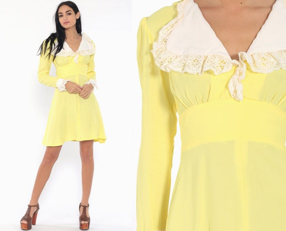 60s Babydoll Dress Yellow Mod Mini Lace Collar Puff Sleeve Lolita Dolly 70s Vintage Empire Waist Minidress Long Sleeve Extra Small xs