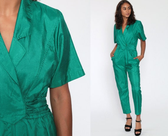 Shiny Green Jumpsuit 80s Tapered Pants High Waisted Onesie Deep V Neck Wrap Vintage Pantsuit Short Sleeve Disco 1980s Party Playsuit Small