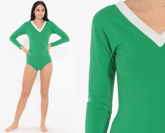 Green Leotard Bodysuit Top 70s Body Suit Long Sleeve Unitard Shirt 1970s Retro V Neck Vintage Bohemian Small